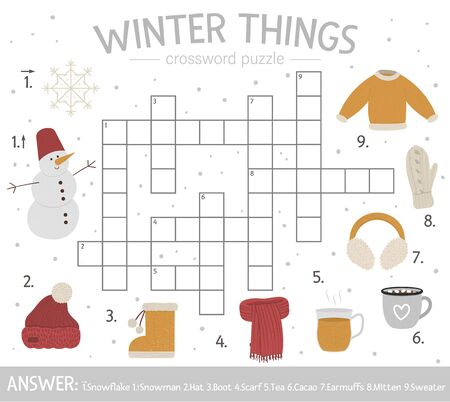 Vector winter things crossword puzzle. Bright and colorful winter quiz for children. Educational activity with cold season elements.