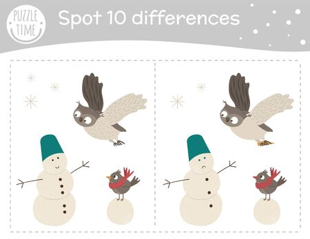 Winter find differences game for children. Holyday festive preschool activity with owl and bird building snowman. Puzzle with cute funny smiling animal characters.