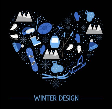 Vector objects for active winter framed in heart shape on black background. Cold season sport equipment composition. Card design with items for spending holidays in mountains and snowflakes.