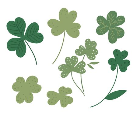 Vector set with flat clover leaf illustration. Cute spring icons collection. St. Patrick's day's symbol. Irish national holiday concept. Green plant clip art isolated on white background.