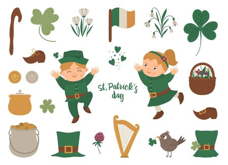 Vector set of St. Patrick's Day symbols. National Irish holiday icons isolated on white background. Cute funny flat boy and girl in green clothes with shamrock and traditional objects.   イラスト・ベクター素材