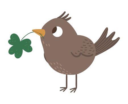 Vector flat funny bird with shamrock in its beak. Cute St. Patrick's Day illustration. National Irish holiday icon isolated on white background.