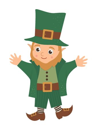 Vector flat funny leprechaun in green traditional clothes and hat. Cute St. Patrick's Day illustration. National Irish holiday icon isolated on white background.   イラスト・ベクター素材