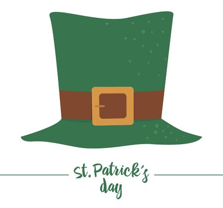 Vector flat funny green leprechaun's hat with brown belt. Cute St. Patrick's Day illustration. National Irish holiday icon isolated on white background.