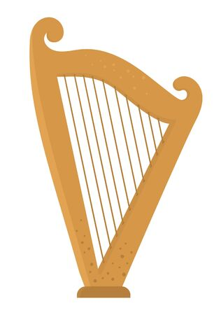 Vector flat funny harp. Cute St. Patrick's Day musical instrument illustration. National Irish holiday icon isolated on white background.   イラスト・ベクター素材