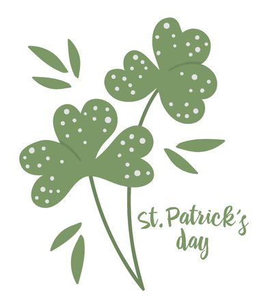Vector flat clover leaf illustration. Cute spring icon. St. Patrick's day's symbol. Irish national holiday concept. Green plant clip art isolated on white background.