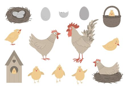 Vector set of cute funny hen and rooster with little chicks, eggs, nest. Spring or Easter funny illustration. Collection of design elements for Christian holiday