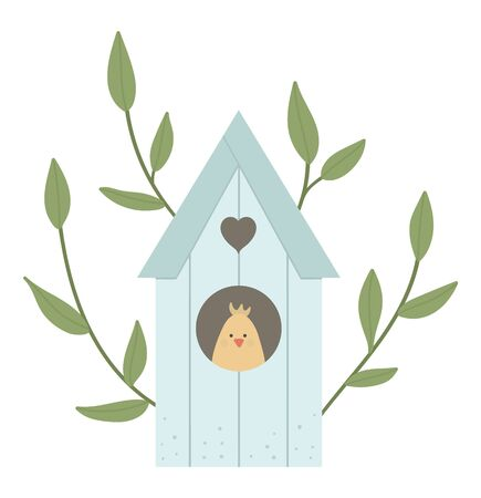 Vector illustration of starling-house with tree twigs and chick inside isolated on white background. Spring traditional symbol and design element.