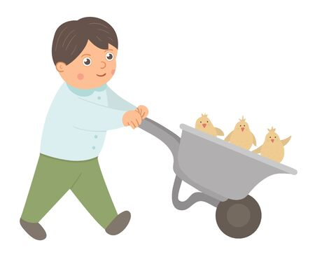 Vector happy boy driving a wheelbarrow with chicks. Easter funny character and design element. Cute spring icon picture.