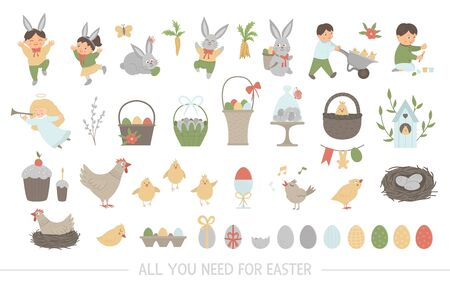 Big collection of design elements for Easter. Vector set with cute bunny, children, colored eggs, chirping bird, chicks, baskets. Spring funny illustration.