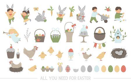 Grande collection d'éléments de conception pour Pâques. Ensemble d'images vectorielles avec un lapin mignon, des enfants, des œufs colorés, un oiseau chantant, des poussins, des paniers. Illustration drôle de printemps.