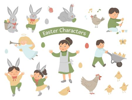 Collection of Easter characters. Vector set with cute bunny, children, colored eggs, chirping bird, chicks, angel. Spring funny illustration.