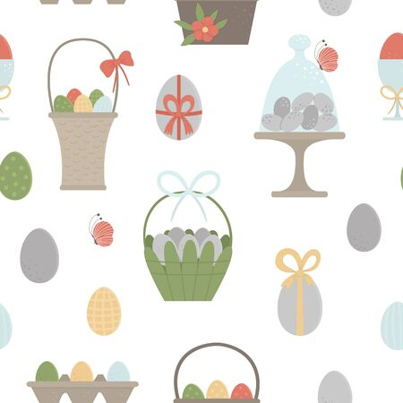 Vector seamless pattern with colored eggs, baskets, packaging with bows, butterfly and flowers. Easter background with traditional symbols. Spring digital paper.