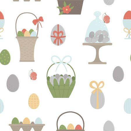 Vektornahtloses Muster mit farbigen Eiern, Körben, Verpackung mit Bögen, Schmetterling und Blumen. Ostern-Hintergrund mit traditionellen Symbolen. Frühling digitales Papier.