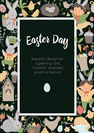 Vector Easter vertical layout frame with bunny, eggs and happy children on black background. Christian holiday themed banner or invitation. Cute funny spring card template.