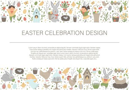Bordo del frame di layout orizzontale di Pasqua di vettore con coniglietto, uova e bambini felici isolati su priorità bassa bianca. Banner o invito per le vacanze cristiane con posto per il testo. Modello di carta carino primavera.