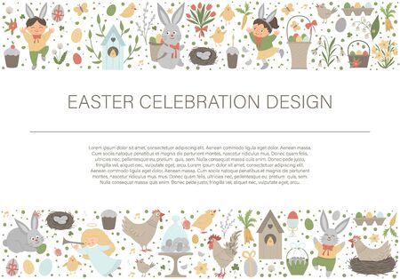 Frontera de marco de diseño horizontal de Pascua de vector con conejito, huevos y niños felices aislados sobre fondo blanco. Banner de fiesta cristiana o invitación con lugar para el texto. Plantilla de tarjeta de primavera linda.