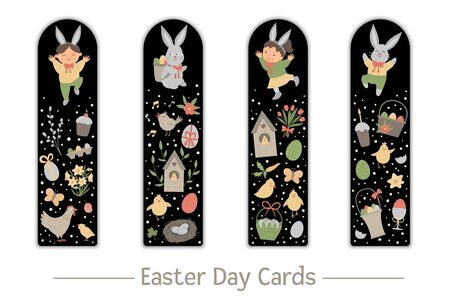Vector Easter set of bookmarks for children. Cute bunny and happy children on black background. holiday themed vertical layout card templates. Stationery for kids.