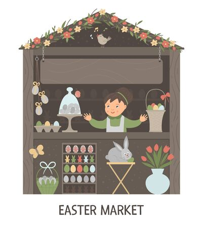 Vector illustration of Easter market stall with saleswoman with place for text. Little shop with spring holiday goods. Cute cartoon style banner with eggs, bunny, flowers.  Ilustração