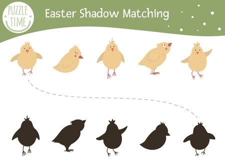 Easter shadow matching activity for children. Preschool Christian holiday puzzle. Cute spring educational riddle. Find the correct chicken silhouette game.  Ilustração