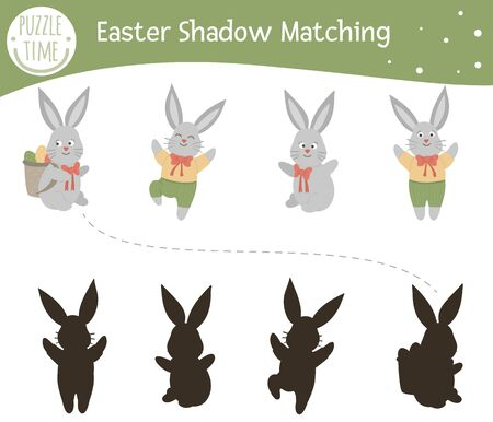 Easter shadow matching activity for children. Preschool Christian holiday puzzle. Cute spring educational riddle. Find the correct bunny silhouette game.