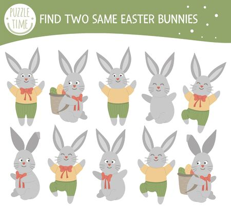 Find two same bunnies. Easter matching activity for preschool children with cute rabbits. Funny spring game for kids. Logical quiz worksheet.