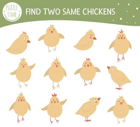 Find two same chickens. Easter matching activity for preschool children with cute chicks. Funny spring game for kids. Logical quiz worksheet.