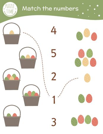 Matching game with baskets and colored eggs. Easter math activity for preschool children. Spring counting worksheet. Educational riddle with cute funny elements. Ilustracja