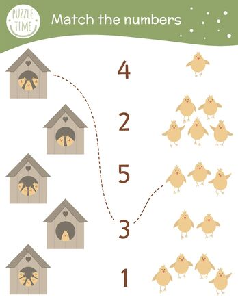 Matching game with starling-houses and cute chicks. Easter math activity for preschool children. Spring counting worksheet. Educational riddle with funny birds.