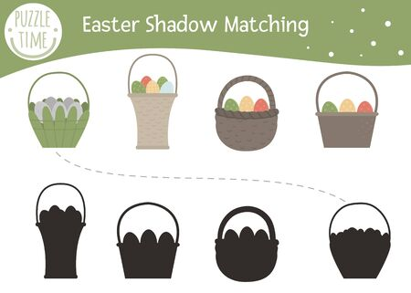 Easter shadow matching activity for children with basket and colored eggs. Preschool Christian holiday puzzle. Cute spring educational riddle. Find the correct silhouette game.