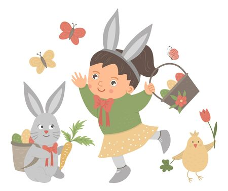 Vector flat funny girl with rabbit's ears, basket with eggs, bunny, chicken and butterfly. Cute Easter illustration. Spring holiday picture isolated on white background.  Ilustração