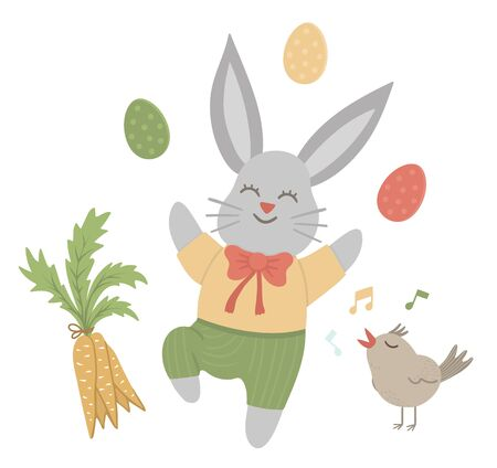 Vector flat funny bunny with colored eggs, carrot and singing bird. Cute Easter illustration. Spring holiday picture isolated on white background.