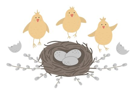 Vector flat funny chickens with eggs in nest framed with pussy willow branches. Cute Easter illustration. Spring holiday picture isolated on white background.