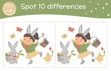 Easter find differences game for children. Spring holiday festive preschool activity with girl, basket, bunny, chicken and butterfly. Puzzle with cute funny smiling characters.