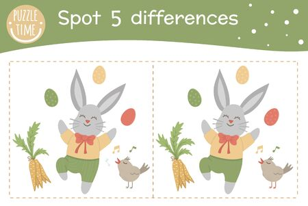 Easter find differences game for children. Spring holiday festive preschool activity with bunny, colored eggs, carrot and singing bird. Puzzle with cute funny smiling characters.