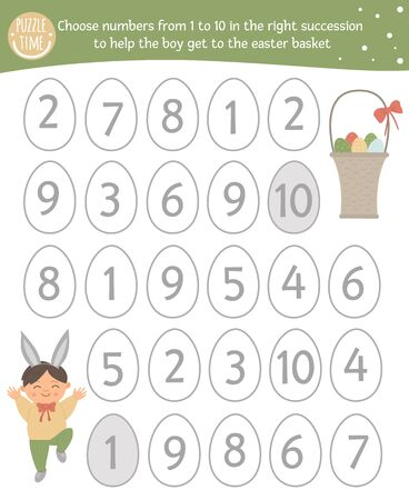 Easter math game with cute characters. Spring mathematic maze activity for preschool children. Choose numbers from 1 to 10 to help the boy get to the basket with eggs.  向量圖像