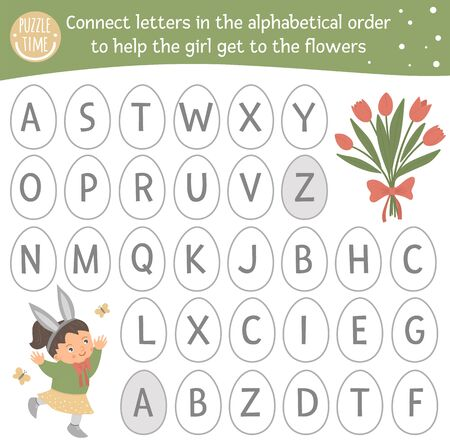 Easter ABC game with cute characters. Spring alphabet maze activity for preschool children. Choose letters from A to Z to help the girl get to the flowers.