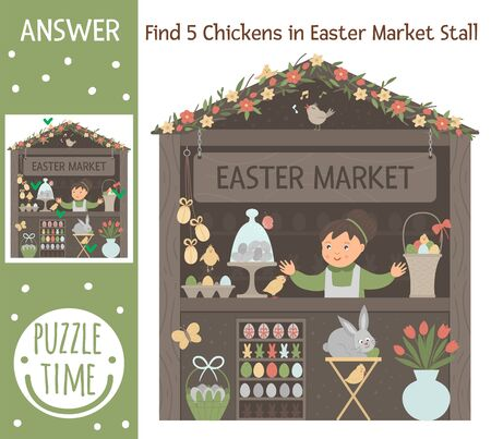 Easter searching game for children with spring shop with colored eggs and bunny. Cute funny smiling characters. Find hidden chickens in market stall.