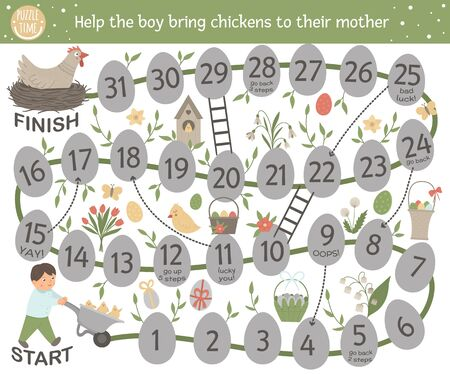 Easter adventure board game for children with cute characters and traditional symbols. Educational spring holiday boardgame. Help the boy bring chickens to their mother.