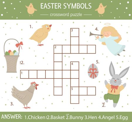 Vector Easter symbols crossword puzzle. Bright and colorful spring quiz for children. Educational holiday activity with colored egg, chicken, bunny  Ilustração