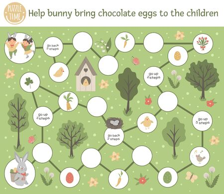 Easter adventure board game for children with cute characters and traditional symbols. Educational spring holiday boardgame. Help bunny bring chocolate eggs to the children.
