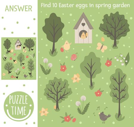 Easter searching game for children with colored eggs in spring garden. Cute funny smiling characters. Find hidden objects.