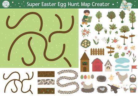 Easter egg hunt map creator. Set of flat cartoon elements for constructing spring activity. Vector garden clip art with seamless brushes for paths. Ilustração Vetorial