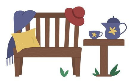 Vector illustration of garden bench with plaid, cushion, hat, table with teapot and cup. Place for rest after garden work. Post gardening relaxation picture.