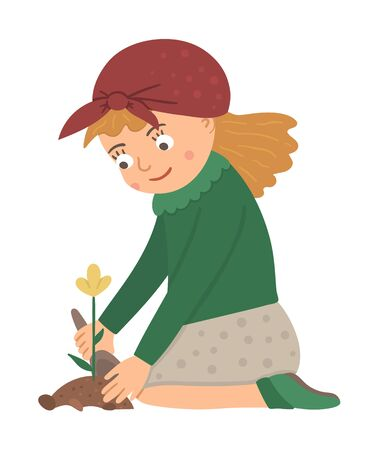 Vector illustration of a girl planting flower with a shovel isolated on white background. Cute kid doing garden work. Spring gardening activity picture with funny character.