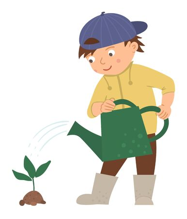 Vector illustration of a boy watering plant isolated on white background. Cute kid doing garden work. Spring gardening activity picture with funny character.   Ilustração