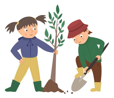 Vector illustration of children planting tree isolated on white background. Cute kids doing garden work. Boy digging ground with spade. Spring gardening activity picture with funny character.