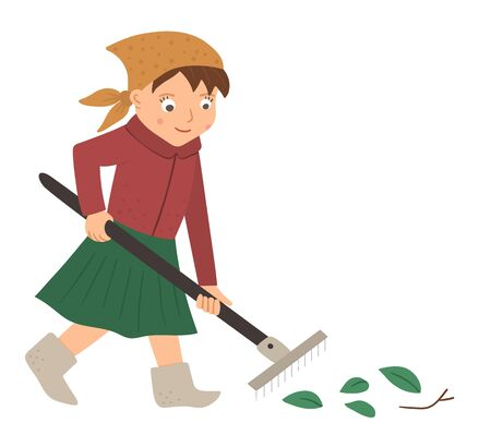 Vector illustration of a girl raking leaves with rakes isolated on white background. Cute kid doing garden work. Spring gardening activity picture with funny character.