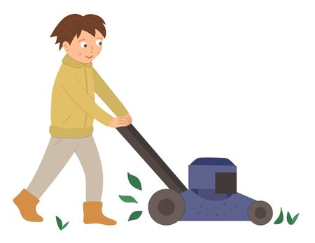Vector illustration of a boy cutting grass with lawn mower isolated on white background. Cute kid doing garden work. Spring gardening activity picture with funny character.