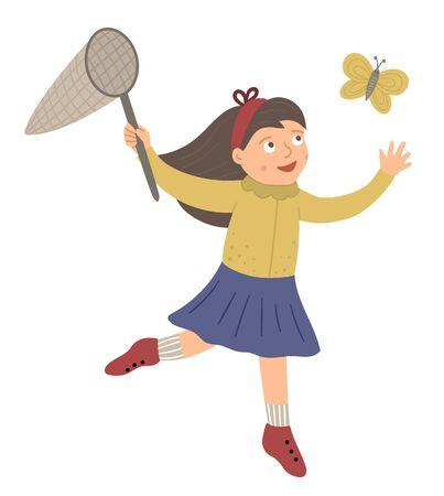 Ilustración de vector de una niña atrapando mariposas con una red aislada sobre fondo blanco. Niño lindo disfrutando del verano. Cuadro de primavera con carácter divertido. Ilustración de vector